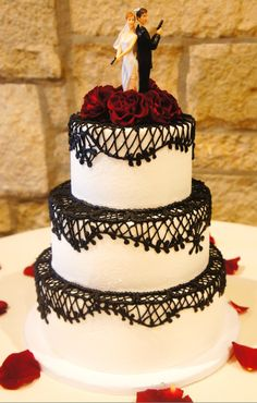#wedding #mybigday Black White Red wedding cake …