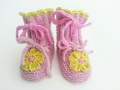 Hand Knit Baby Girl Booties,  Flower Crochet Top Booties, Flower Booties, Pink Green Booties, Unique Baby Booties, 0-6 months size by heaventoseven on Etsy