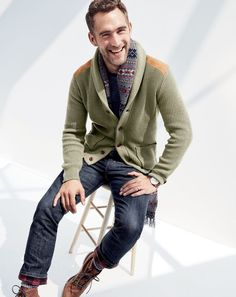 J.Crew men's woodsman cardigan sweater, 770 denim cabin pant in Batavia wash, Original Chippewa® for J.Crew plain-toe Renegade boots, Fair Isle scarf, Chup™ Katsina socks and Mougin & Piquard™ chronovintage watch.