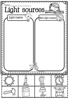 light sources(freebie) by Eye Popping Fun Resources Year 1 Maths, Kindergarten Literacy, Science Ideas, Kindergarten Worksheets, Science Classroom, Nursery Rhymes, Keep It Cleaner, Teacher Resources, Eye