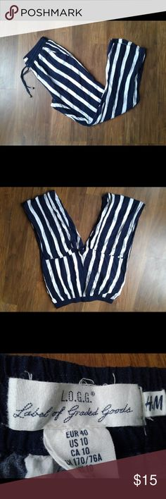 👀 LOGG by H&M navy striped sheer lounge pants💋 Label Of Graded Goods by H&M navy and white size 10 sheer lounge pants. Very sheer & lots of flow, making them comfy around the house or out on a hot day. 😉********************** TY for looking ☺️ L.O.G.G. by H&M Pants Wide Leg