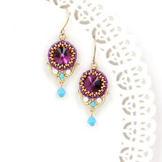 Pink earrings, Fuchsia earrings, Dangle earrings gold, Pink crystal earrings, Pink dangle earrings, Gift for wife, Swarovski crystal earring by LioraBJewelry on Etsy