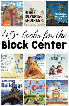 What Children's Books Should Be in the Block Center? So many awesome ideas for books for the block center! I love the idea of bringing literacy into the preschool block center. Preschool Lesson Plans, Preschool Classroom, Preschool Activities, First Day Of School Activities, Book Activities, Classroom Ideas, Block Center Preschool, Kindergarten Centers, Books For Kindergarten