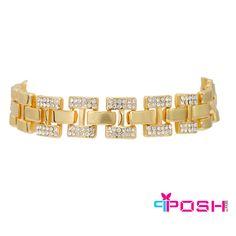 POSH - Grace - Bracelet - Fashion bracelet - Gold Tone chain  - Encrusted with clear stones - Box clasp closure - 19.5 cm length 1.5 cm width