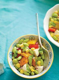 Edamame salad with grilled peppers ---> Salade d'edamame aux poivrons grillés  et aux bocconcinis