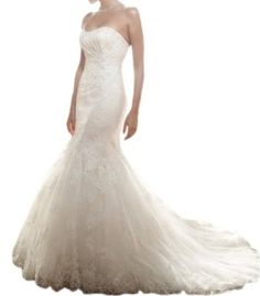 Jeen Wedding Dress Mermaid Strapless Soft Sweetheart Beaded Lace on Tulle over Satin