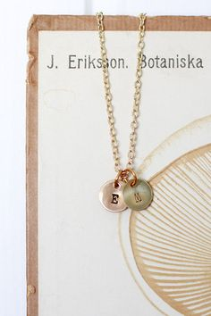 Personalized jewelery. Initials stamped in metal.