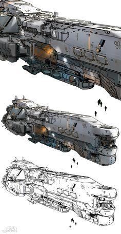 ArtStation - halo 5 - Meridian spaceship, sparth .