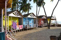 colorful beach hut accommodations (Palolem, India)