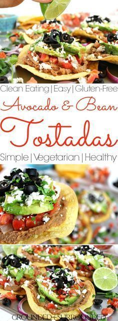 The BEST Vegetarian Tostadas | These healthy tostadas packed with whole food ingredients like avocado, pico de gallo, refried beans and Mexican cheese are the perfect Meatless Monday meal option. Dinners at your house will hit EPIC with this easy recipe.