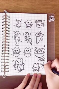 Cat Doodle, Cute Doodle Art, Doodle Art Drawing, Cute Easy Drawings, Cute Little Drawings, Art Drawings Sketches Simple, Bullet Journal Lettering Ideas, Bullet Journal Writing, Bullet Journal Ideas Pages