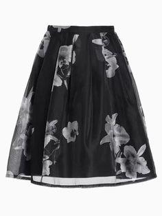 Black Skater Skirt With White Floral Print