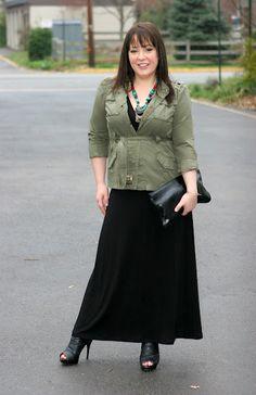 black maxi/olive jacket....try khaki jacket with bandolino wedges