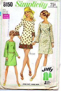 Simplicity 8150 1960s Misses Jiffy Dress Pattern por mbchills