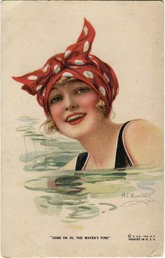 Gone Swimming! #BeneVoyage #BenefitCosmetics  Vintage postcard girl swimming by the ghost of me, via Flickr