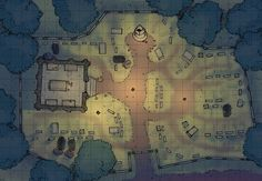 The Cemetery, a battle map for D&D / Dungeons & Dragons, Pathfinder, Warhammer and other table top RPGs. Tags: crypt, spooky, graveyard, night, town