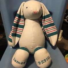 Bunny from baby's receiving blanket