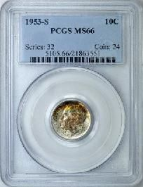 Rainbow Toned PCGS MS-66 1953-S Silver Roosevelt Dime Intense Rainbow toning!