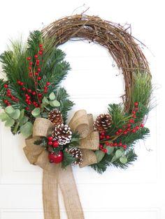 Christmas Wreath, Burlap Bow on Christmas Wreath, Rustic Christmas Wreath, Christmas Wreath For Door, Holiday Decor Wreath Crafts, Diy Wreath, Wreath Burlap, Grapevine Wreath, Handmade Christmas Decorations, Rustic Christmas, Christmas Door Hangings, Deco Table Noel, Xmas Wreaths