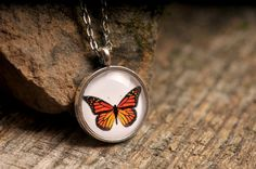 Butterfly necklace butterfly pendant monarch by SomeMagic on Etsy