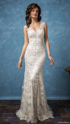 amelia sposa 2017 bridal sleeveless thick strap v neck full embellishment elegant sheath wedding dress illusion back chapel train (nicole) mv