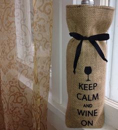 Keep Calm and Wine On - Tan Burlap Wine Bag lined with Black Flannel on Etsy, $10.00
