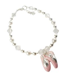 Custom made bracelet for girls with ballet shoe dance charm , crystals and white swarovski pearls, sterling silver clasp and grow chain.