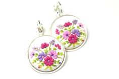 "Floral Earrings ""Bouquet"" Polymer Clay Applique Floral Embroidery Multicolored Pendant Floral Necklace St. Valentine's Day Gift for Girl"