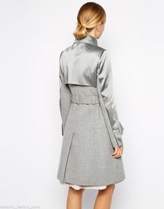 Karen Millen Glam Grey Satin Wool Trench Military Cashmere Jacket Coat 10 16 | eBay