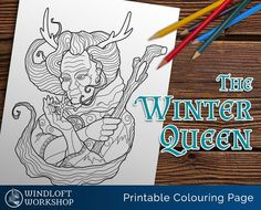 Cailleach Bheur, the benevolent Scottish goddess, is now available in the shop as a printable coloring page for your enjoyment!