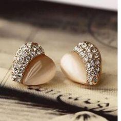 Korean jewelry lovely peach heart love half opal half Imitation diamond earrings Earrings For Women Women Gift