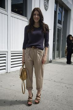 Sweater: Blue Sweater  Pants: Cuffed Khaki Trousers  Bag: Beige Bag  Shoes: Cheetah Print Sandals