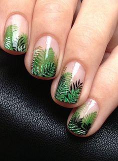 Cool Green Nail Art Designs Ideas That Will Inspire You Tropical Nail Designs, Tropical Nail Art, Cute Nail Designs, Style Tropical, Green Nail Art, Green Nails, Trendy Nails, Cute Nails, Nail Art Vernis