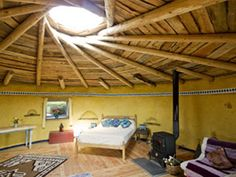 strawbale roundhouse with reciprical roof