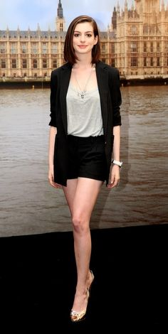 Anne Hathaway; I need a long black blazer like that.