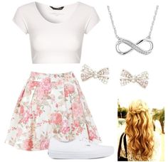 Floral Print skirt with a plain white Crop Top.