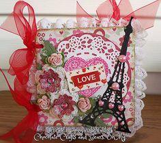 Carol Hurlock: Chocolate, Crafts, and Bears, Oh MY! fr CottageBLOG: CottageCutz Love Album - 1/19/13  (Cottage Cutz: Eiffel Tower Mini, Tea Time Doily, Greenery, Flower Mini)  (Pin#1: Valentines-Dies...  Pin+: Cities: Paris/ ...; Dies: CottageCutz).