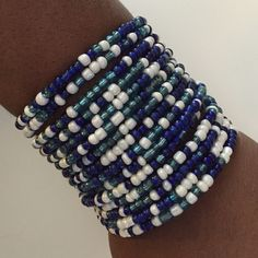 Blue/Multi Classic Cuff One, Blue Multi/White 15 row wire seed beads link cuff bracelet. D.Green Designs Jewelry Bracelets