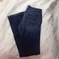 7 for all mankind Bootcut dark denim jeans sz 29 In great condition the threading ...is a really light light pink.. The inseam is 31 7 for all Mankind Jeans Boot Cut