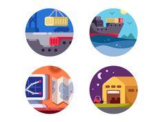 Maritime logistics icons