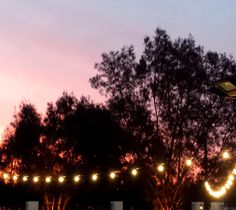 Some nice warm festoon lighting in front of a beautiful sunset. It doesn't get much better than that.