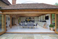 Julius Bahn specialises in building exceptional oak-framed structures including orangeries, garden rooms, conservatories, garages, outbuildings and stables. Orangery Extension Kitchen, Orangerie Extension, Kitchen Orangery, Kitchen Diner Extension, House Extension Plans, Cottage Extension, House Extension Design, House Design, Rear Extension