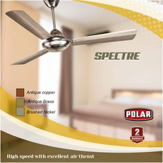 Polar brings to you elegantly designed metallic Spectre Ceiling Fan with long lasting and durable finish. Decorative Ceiling Fans, Antique Copper, High Speed, Metallic, Antiques, Design, Home Decor, Homemade Home Decor, Antiquities