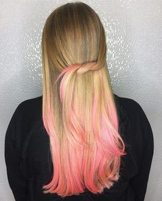 Ringing in the #weekend with a hint of #pink.  #Hair maven @coryhoffmanhair used #Matrixcolor to #dipdye the ends. #Friyay
