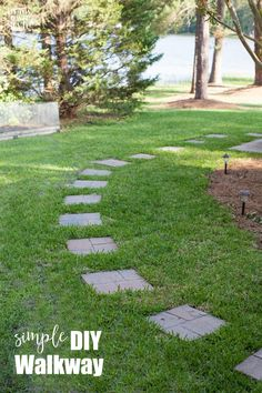 How to create a paver stone walkway the easy way. All you need is a Fiskars machete and paving stones bought at the home improvement store.  The top of the paver stones are level with the grass so they will not interfere when cutting the grass with a lawn mower.