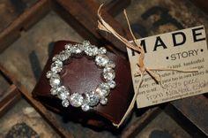Brown Leather Bracelet Adorned with Vintage Brooch