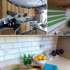 Painted Subway Tile Backsplash - 24 Low-Cost DIY Kitchen Backsplash Ideas and Tutorials