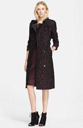 Burberry London 'Sandringham' Leather Trim Jacquard Trench Coat