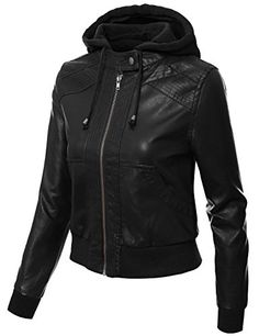 J.TOMSON Womens Mixed Fabric Faux Leather PU Zip-Up Hooded Bomber Moto Jacket