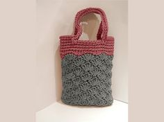 Crocheted handbag / handmade handbag / market sand bag / knit / color rope bag / women accessorie / lady accessorie / pink grey…